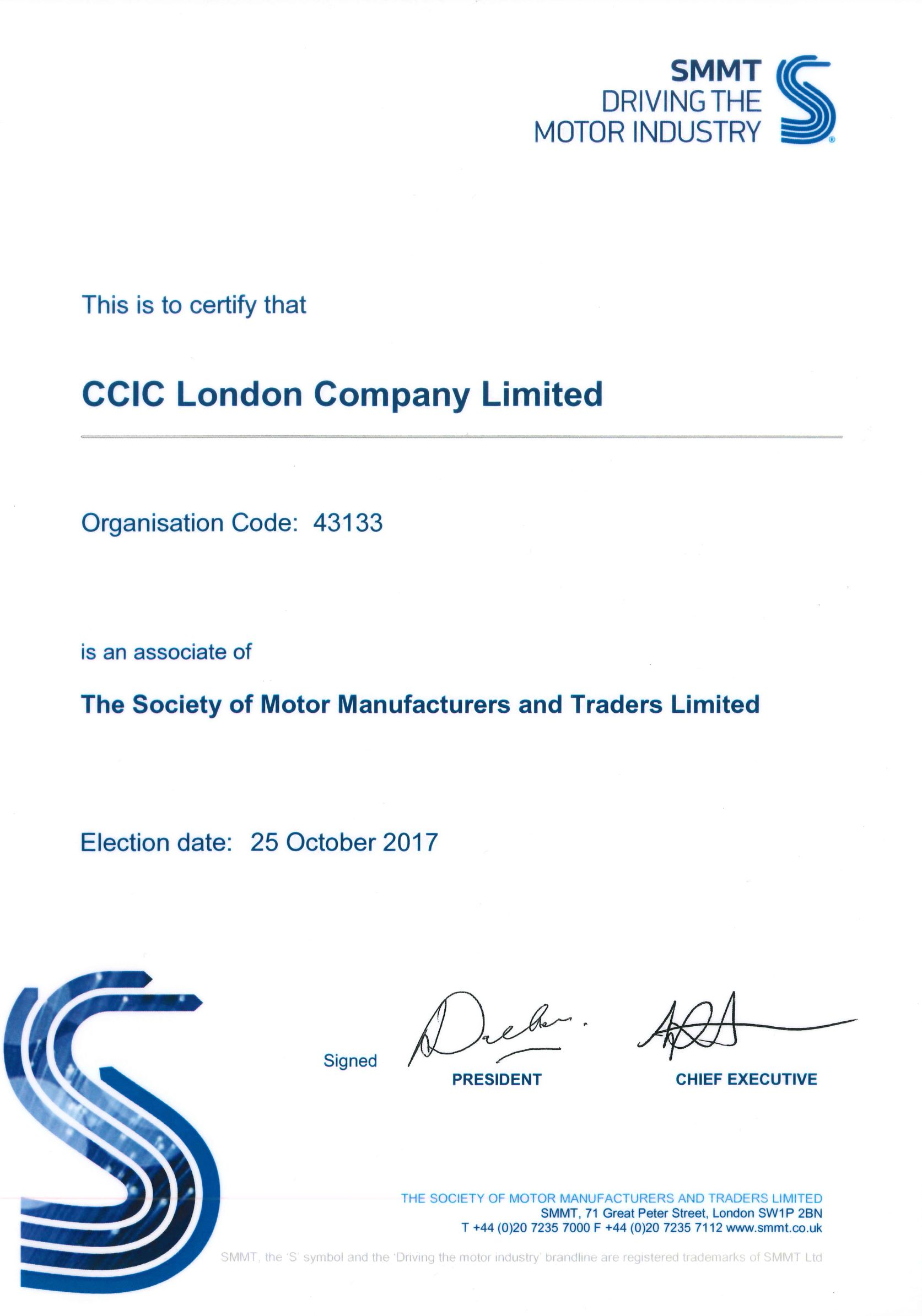 Company Qualifications CCIC London Company Limited